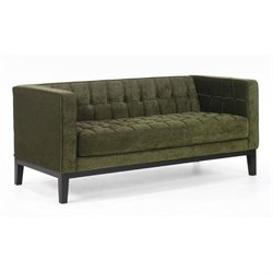 Armen Living Roxbury Tufted Fabric Loveseat in Green