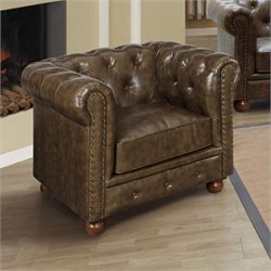 Armen Living Winston Vintage Leather Tufted Club Arm Chair in Espresso