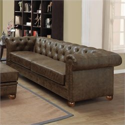 Armen Living Winston Vintage Leather Sofa in Mocha