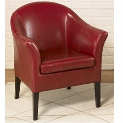 Armen Living Leather Club Chair in Red