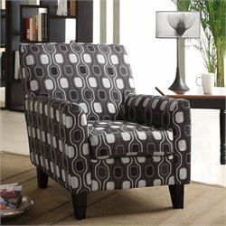 Armen Living Fiesta Fabric Club Arm Chair in Gray Geometric Pattern
