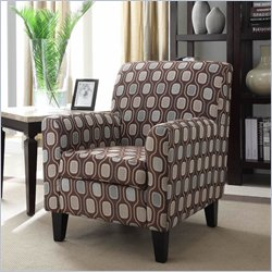 Armen Living Fiesta Fabric Club Arm Chair in Cream Circles Geometric Pattern