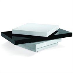 Armen Living Swivel Coffee Table in Black and White