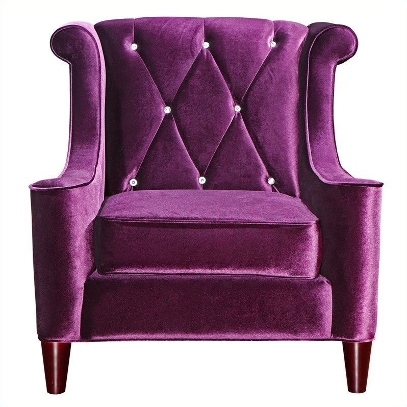 Armen Living Barrister Tufted Club Chair in Purple