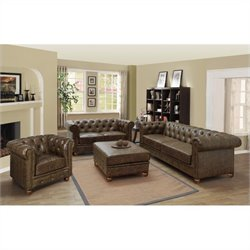 Armen Living Winston 3 Piece Vintage Sofa Set in Mocha
