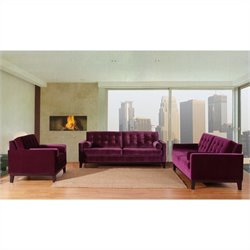 Armen Living Centennial 3 Piece Velvet Sofa Set in Purple