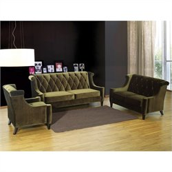 Armen Living Barrister 3 Piece Velvet Sofa Set in Green