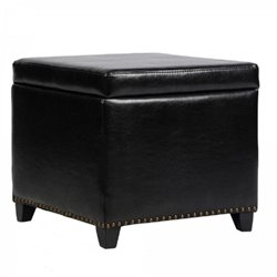Armen Living Leather Kenya Ottoman in Dark Brown