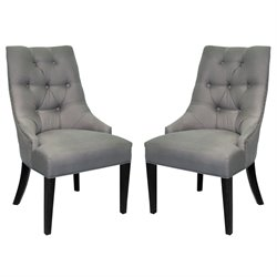 Armen Living Linen Centennial Dining Chair in Gray (Set of 2)