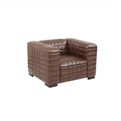 Armen Living Leather Maxton Leather Chair in Brown
