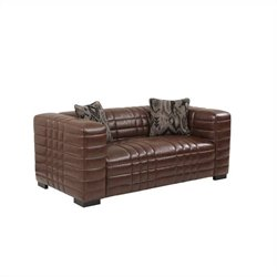 Armen Living Bonded Leather Maxton Loveseat in Brown