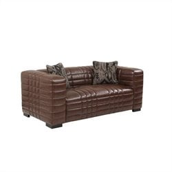Armen Living  Maxton Leather Loveseat in Brown