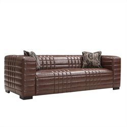 Armen Living Bonded Leather Maxton Sofa in Brown