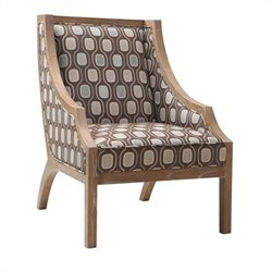 Armen Living Sahara Upholstered Accent Swayback Chair in Beige