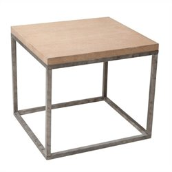 Armen Living MDF Oak Veneer Sahara End Table in Antique Whitewash