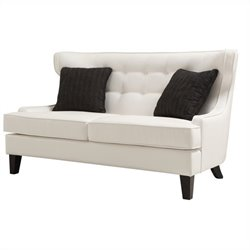 Armen Living Skyline Leather Loveseat in White