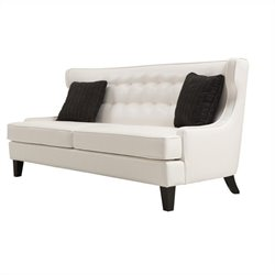Armen Living Skyline Leather Sofa in White