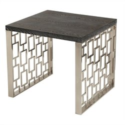 Armen Living Skyline Lamp Table in Charcoal