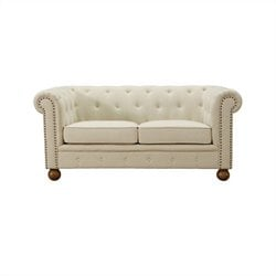 Armen Living Linen Winston Loveseat in Beige