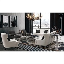 Armen Living Skyline 3 Piece Leather Sofa Set in Cream