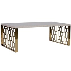 Armen Living Skyline Coffee Table in White and Gold