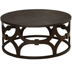 Armen Living Tuxedo Round Coffee Table in Natural