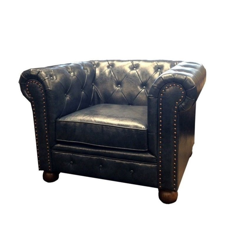 Charmant Armen Living Winston Vintage Leather Sofa Chair In Blue