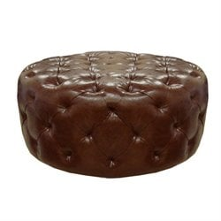 Armen Living Victoria Leather Ottoman in Brown