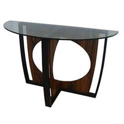 Armen Living Decca Oval Glass Top Console Table in Brown