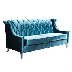 Armen Living Barrister Sofa with Crystal Buttons in Blue Velvet