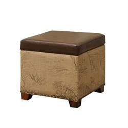 Armen Living Antique Vintage Leather Storage Ottoman in Brown