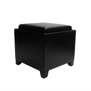 Armen Living Contemporary Leather Storage Ottoman with Tray in Black