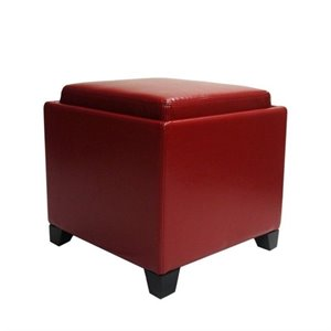 Armen Living Contemporary Leather Storage Ottoman with Tray in Red