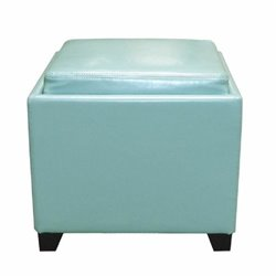 Armen Living Contemporary Leather Storage Ottoman with Tray in Blue