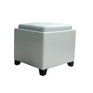 Armen Living Contemporary Leather Storage Ottoman with Tray in White