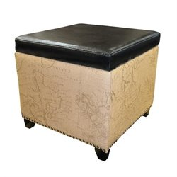 Armen Living Kenya Leather Ottoman in Brown
