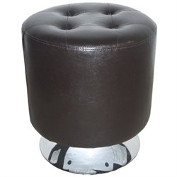 Armen Living Ruby Round Leather Ottoman in Brown