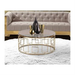 Armen Living Zinc Glass Coffee Table in Gold