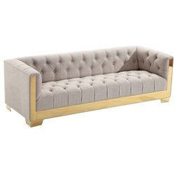 Armen Living Zinc Tweed Sofa in Taupe and Gold