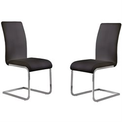 Armen Living Amanda Faux Leather Dining Chair in Black (Set of 2)
