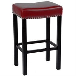 Armen Living Tudor Nailhead Trim Leather Counter Stool in Red