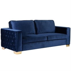 Armen Living Isola Tufted Velvet Sofa in Blue