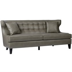 Armen Living Skyline Bonded Leather Sofa in Smoke