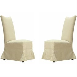 Armen Living Tuxedo Fabric Wood Dining Chair in White (Set of 2)