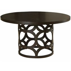 Armen Living Tuxedo Wood Round Dining Table in Brown