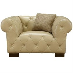 Armen Living Tuxedo Bonded Leather Chair in Beige