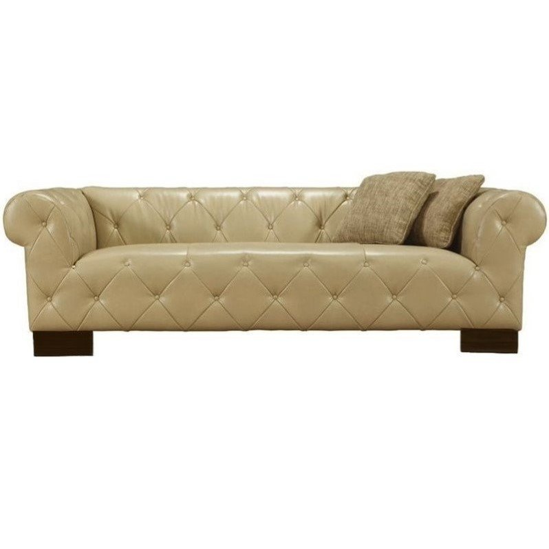 Armen Living Tuxedo Tufted Faux Leather Sofa In Beige