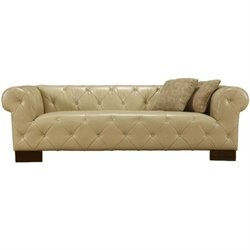 Armen Living Tuxedo Bonded Leather Sofa in Beige