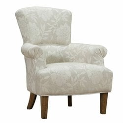 Armen Living Barstow Floral Fabric Accent Chair in Cream