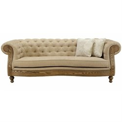 Armen Living Barstow Tufted Fabric Sofa in Sand